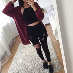 Red wine knit cardigan and black jeans