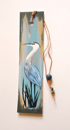 Heron Totem Original Painted Bookmark with Beads by Jeanne Fry | ConsciousArtStudios - Painting on ArtFire