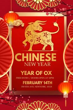 Customize this design with your video, photos and text. Easy to use online tools with thousands of stock photos, clipart and effects. Free downloads, great for printing and sharing online. Poster. Tags: chinese new year, new year, year of ox, New Year, Chinese New Year , Chinese New Year Chinese New Year Poster, New Years Poster, Share Online, Beautiful Posters, New Year Celebration, Free Downloads, Social Media Graphics, Ox, Flyer Template