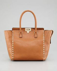Rockstud Double Handle Tote Bag, Beige by Valentino at Bergdorf Goodman.