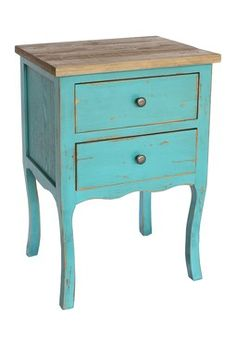 Embrace antique-inspired style in your home with this rustic end table that features a sturdy fir wood construction, generous storage space in two convenient drawers and striking color. Blue Side Table, Rustic End Tables, Bright Decor, Dream Furniture, Antique Desk, Blue Wood, Farmhouse Furniture, Wood Construction, Storage Spaces