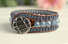 Leather Wrap Cuff 3 Row Denim Blue Bohemian by BearCreekCollection, $50.00