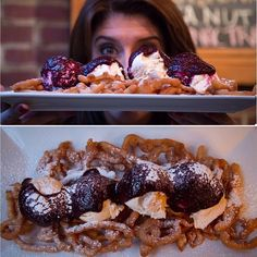 "Little Town in Union Square is a contemporary Brew House, but there is nothing little about this secret menu item. Those in the know can order Chef Andino's signature dessert item called the ""Carnival Cake"". Chef's home-made funnel cake is a nod to your favorite small-town fair, but goes way beyond the local treat. The funnel cake is covered with vanilla ice cream, topped with blueberry compote, and finished off with confectionary sugar. Lauren Scala digs in!  #funnelcake"