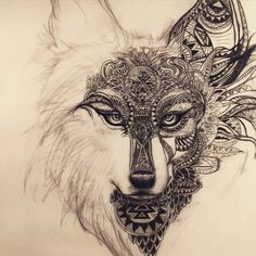 Imagen de wolf, tattoo, and art