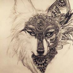 Imagen de wolf, tattoo, and art