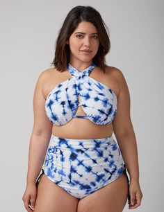 4682f7ef778d5 Cross-Front Bikini Top with Built-In Bandeau Bra Curvy Bikini