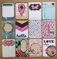 Dozen Handmade Project Life Cards 3x4