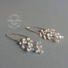 earrings Leaf Chandelier Earrings Pearl enamel inlay with Crystals Pearls, gold or silver detailing - gold. Sapphire Earrings, Crystal Earrings, Silver Earrings, Stud Earrings, Flower Earrings, Tassel Earrings, Birthstone Jewelry, Gemstone Jewelry, Diamond Jewelry