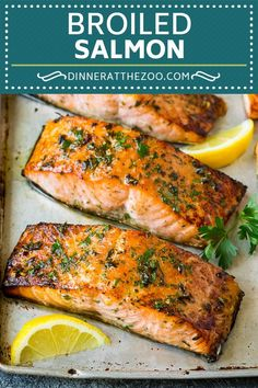 Broiled Salmon Fillets - Dinner at the Zoo Healthy Salmon Recipes, Best Salmon Recipe, Healthy Eating Recipes, Fish Recipes, Salmon Recipe Broiled, Recipes For Salmon Fillets, Keto Recipes, Healthy Food, Garlic Salmon