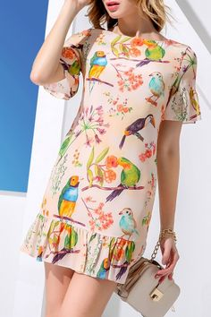 Shop huasilinlon orangepink flounce ruffles sheath bird print dress here, find your mini dresses at dezzal, huge selection and best quality. Simple Dresses, Casual Dresses, Mini Dresses, Modest Fashion, Fashion Dresses, Elegant Outfit, Dress Patterns, Stylish Outfits, Summer Outfits