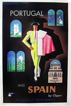 Portugal & Spain - Pan Am, Jean Carlu