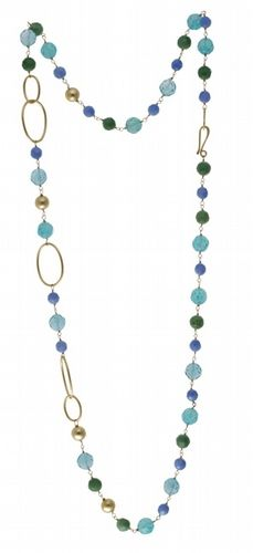Beach Glass Semi-Precious Long Beaded Necklace  Available at www.amorettoboutique.com