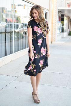 974dd931278 Black Mauve Floral Trapeze Dress Womens Boutique Dresses