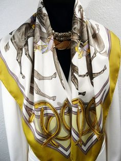Authentic Vintage Hermes Silk Scarf Ascot - 1893 RARE