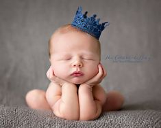 Metallic Royal Blue Newborn Lace Crown by Caramel Crown  We specialize in delicate lace crown photo props for your little prince or princess. We