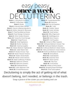 Easy Peasy, Once-A-Week Decluttering Challenge - 2017 Clutter Buster Challenge! Easy Peasy, Once-A-Week Decluttering Challenge 2017 Clutter Buster - Declutter Home, Declutter Your Life, Bedroom Minimalist, Minimalist Home, Minimalist Lifestyle, Minimalist Interior, House Cleaning Checklist, Cleaning Hacks, Cleaning Schedules