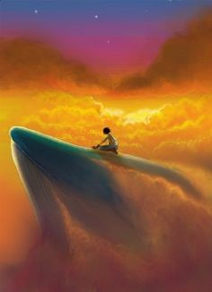 Riding a whale through the sky. Hope he's not shy. Fantasy Landscape, Fantasy Art, Yuumei Art, Whale Rider, Whale Art, Wale, Anime Scenery, Surreal Art, Fantasy Creatures