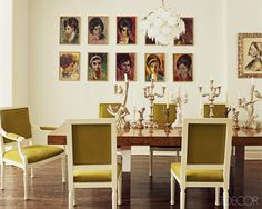 Jonathan-Adler-dining-room-in-Elle-Decor - Design Darling Jonathan Adler, Victorian Townhouse, Into The West, Elle Decor, Interior Design Inspiration, Design Ideas, Color Inspiration, Dining Chairs, Dining Rooms