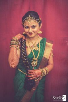 Beautiful in Green South Indian Bride