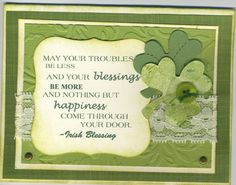 St. Patrick's Day Blessings by DEBBIZ - Cards and Paper Crafts at Splitcoaststampers