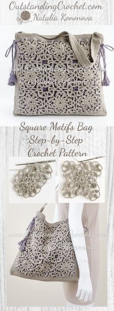 Square Motifs Shoulder Bag Step-by-Step Crochet Pattern at ww.OutstandingCro… Square Motifs Shoulder Bag Step-by-Step Crochet Pattern at ww.OutstandingCro… - My Accessories World Purse Patterns Free, Knitting Patterns Free, Crochet Patterns, Jewelry Patterns, Crochet Handbags, Crochet Purses, Crochet Bags, Crochet Shell Stitch, Easy Crochet