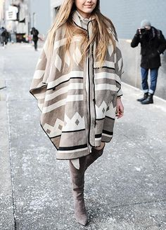 10 Ways to Pull Off a Cape: Finish Off the Outfit with Over-the-Knee Suede Boots  #InStyle