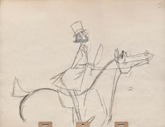 John Lounsbery animated the following two scenes beautifully, maintaining the design sensibilities  in these Milt sketches.  The final scene shows the horse with a monocle, just like the rider. The idea goes back to the opening sequence from 101 Dalmatians, where dogs and their owners share a definite resemblance.  Deja View: Fox Hunt and Horse Race