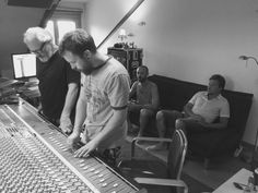 UK Producer and musician Simon Campbell with engineer Chris Taylor in the Supertone Records residential recording studio control room, Estivella, Valencia. Spain