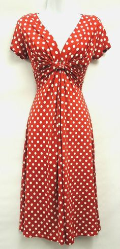New Ladies Red Deco Polka Dot Vtg Retro WW2 Land girl 1940s/50s Pin-up Tea Dress | eBay