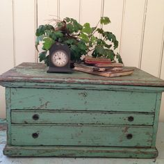 antique wood Machinist Trunk,industrial salvage,early tool box,handmade chest,worn green paint layers,primitive,farmhouse,cottage,home decor by whimzeesnest on Etsy
