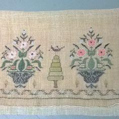 19th century Turkish embroidery textile panel silk, metallic threads