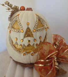 Decorated Halloween pumpkin with Bling!