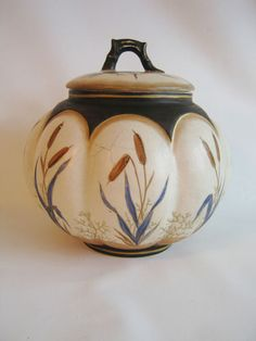 Antique Lidded Tea Jar Biscuit Jar Asian Pottery Hand Painted Cattail Design | eBay