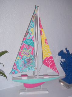 22 Sailboat accented with Lilly Pulitzer In The by jlmyakima, $70.00 Diy Room Decor, Bedroom Decor, Pool House Decor, College Room, Dorm Room, Crystal Garden, Interior Design Boards, Moving To Florida, Dream Bedroom