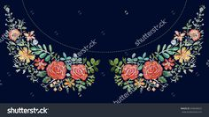 Roses, Flowers Embroidery on black background. Neckline Pattern. Ornamental Fashion print. Raster illustration