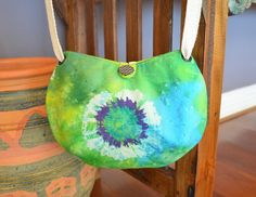 Green batik crossbody bag with circle design