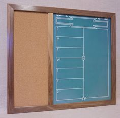 "Framed Wall Command Center - Green ""Southwestern Chalkboard"" Weekly Calendar / Menu Planner and Cork Bulletin Board by Tailor Made Whiteboards"