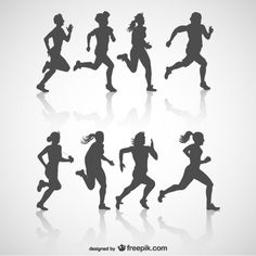 Runner vector silhouettes, free for download: