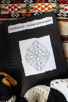 Hilja Design -blogi: Harlekiinineliön ohje - Pattern for harlequin granny square