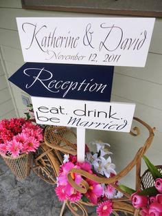Items similar to Wedding Sign, Wooden Directional Signs with Arrows and Bride and Groom Names for your Special Day. Eat, drink, be Married. Wedding Spot, Friend Wedding, Wedding Signs, Our Wedding, Dream Wedding, Wedding Stuff, Wedding Photography Inspiration, Wedding Inspiration, Wedding Ideas
