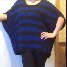 Free People blue striped oversized top In like new condition. Probably worn just once. Size tag got cut off but it's a size small.                                                       d Free People Tops