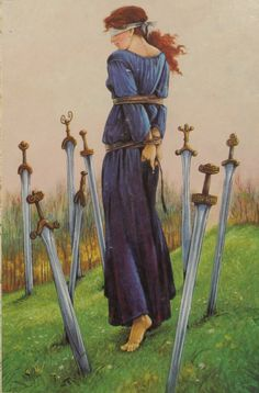 Druid Craft Tarot, 8 of swords: we are dealing with a psychological imbalance or dysfunction. Narrowed, negative beliefs and attitudes convince you that there is no way out. You are trapped by your circumstances and may feel your problems closing in around you. There is a way out for you but at present you are blind to that route to freedom. You self-sabotage attempts at making a break for it. Fear is what grounds you. You need to calm down, and look at your situation in a more objective…