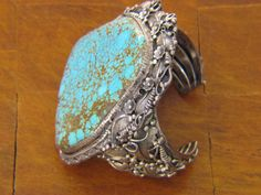 Turquoise Bracelet Navajo Native American Jewelry by artist Ray Calladitto (4)
