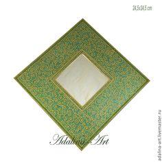 ГРЕНИ зеркало - салатовый,светло-зеленый,золотой цвет,роспись,точечная роспись