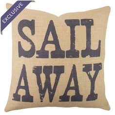 Bring a charming touch to your sofa or favorite reading nook with this handmade burlap pillow, featuring a nautical-themed typographic motif. Crafted in the ...