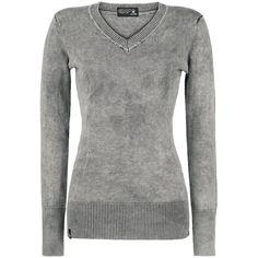 Gray Knit Long Sleeve V Neck Sweater by Black Premium @ EMP $37