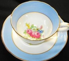 Royal Stafford MAUVE BLUE ROSE Tea cup and saucer - bought two of these today at thrift store!