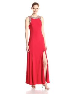 Ignite Womens Jeweled Neck and Arm Hole Long Jersey Knit Long Gown