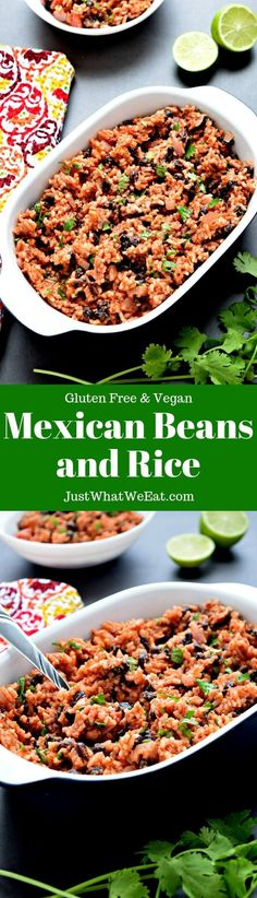 Mexican Beans and Rice - Gluten Free & Vegan - Just What We Eat Mexican Beans and Rice ~ I couldn't believe how easy this gluten free and vegan Mexican Beans and Mexican Beans And Rice, Rice And Beans Recipe, Mexican Food Recipes, Real Food Recipes, Vegetarian Recipes, Dinner Recipes, Savoury Recipes, Mexican Dishes, Super Healthy Recipes