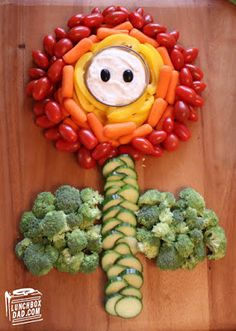 How to Make a Super Mario Fire Flower Vegetable Party Platter